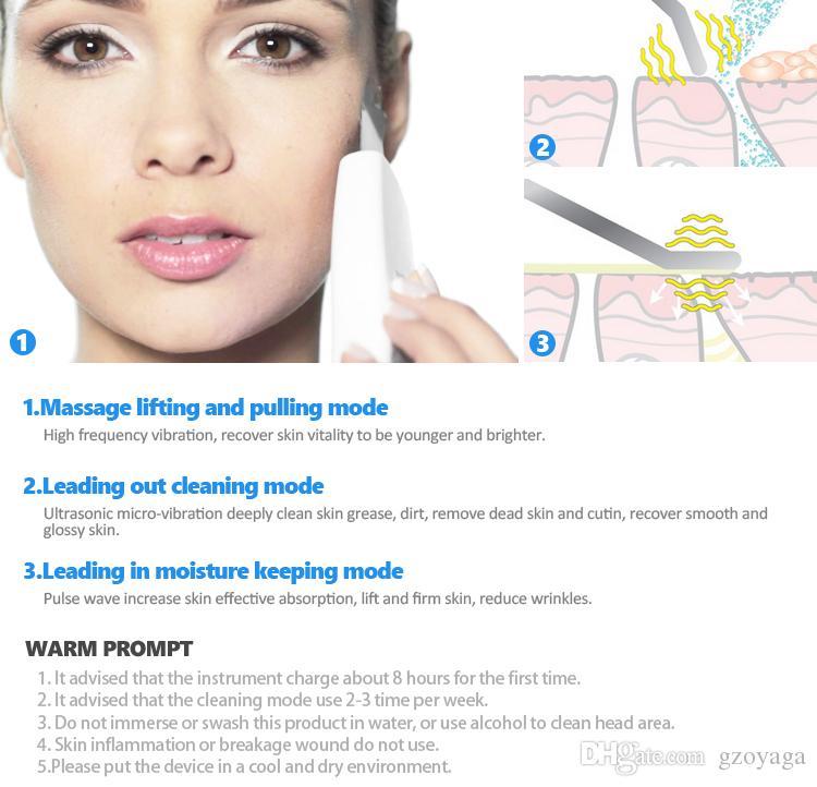 Limpeza ultra-sônica da purificação da cara do limpador da pele Remoção da acne Dispositivo facial do Massager do ultra-som que descasca o elevador limpo do tom