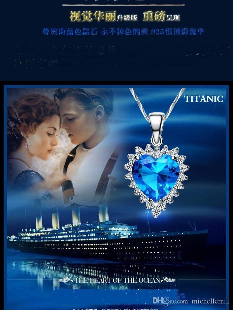Sterling Silver Oceano Pingente de Colar Cadeia Chainbone Azul de Cristal Coração Pingente Item No necklace sea