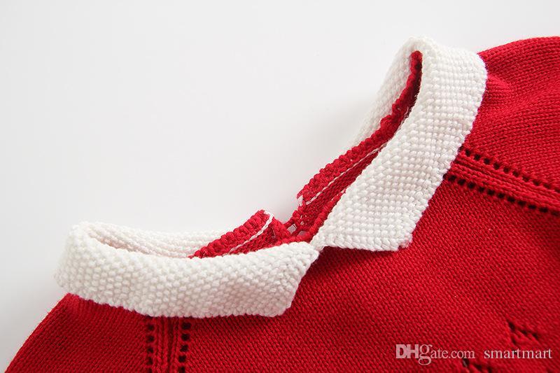 Everweekend Baby Girls Strickpullover Spielanzug Süßigkeiten Rot Rosa Grün Farbe Kleinkind Baby Kleidung Herbst Langarm Kleidung