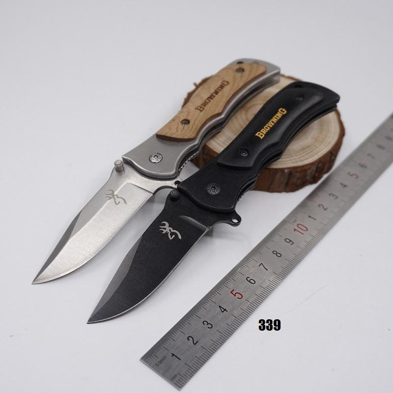 Small Brwoning Knives 337 338 339 Folding Pocket Knife Outdoor Tactical Survival Knives Combat Knife Wooden Handle Quick-opening EDC Tool