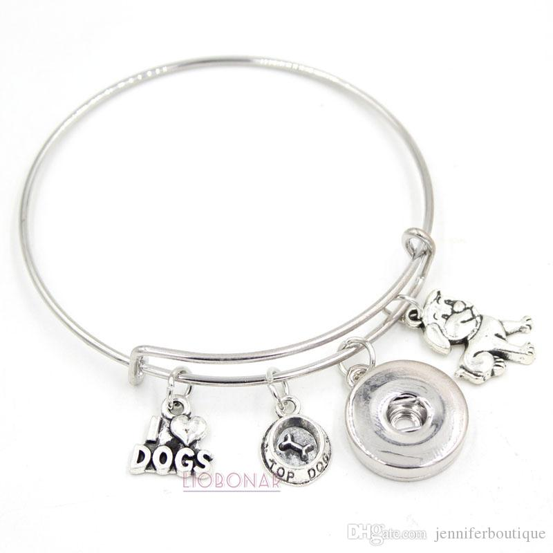 Wholesale Snap Button Jewelry Animal Bracelet Pet I Love Dogs Charms