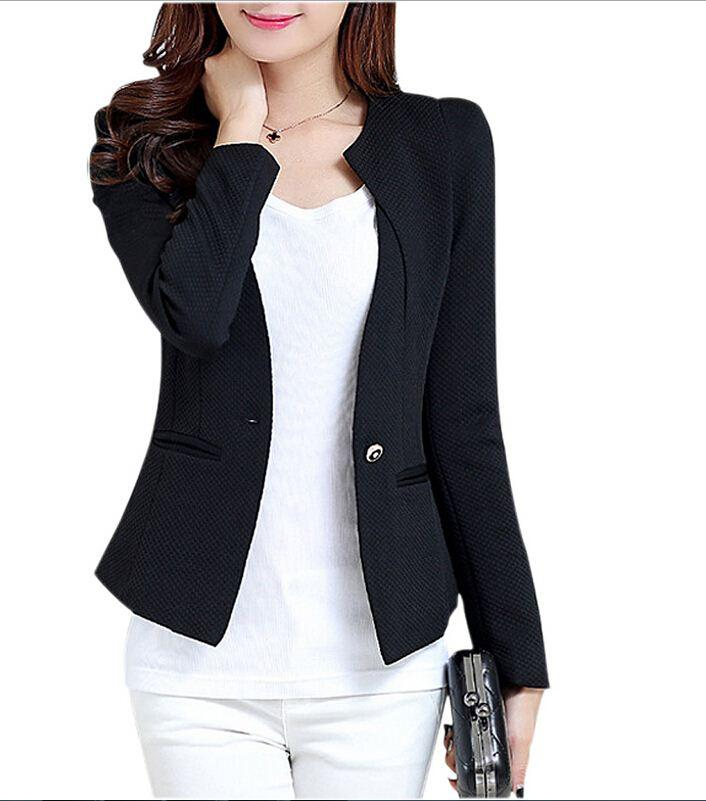 IMC New Fashion Spring Women Slim Blazer Feminino Coat Casual Jacket Long  Sleeve One Button Suit White Ladies Blazers Work Wear High Quality Wear  Snood ... ef68a5754