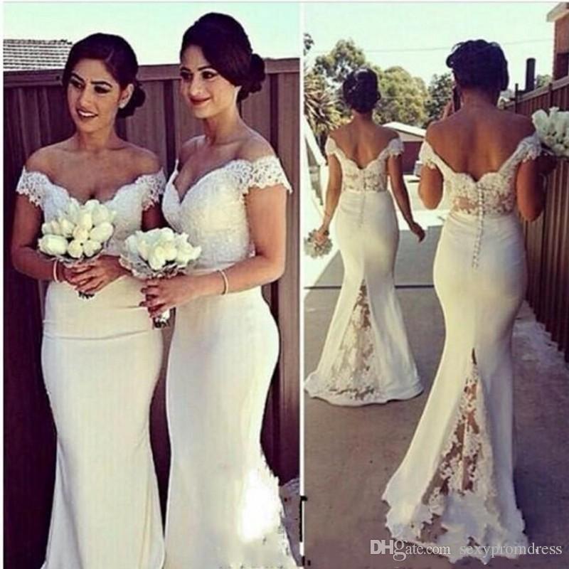 Elegante Fora Do Ombro Rendas Sereia Vestidos de Dama De Honra Para o Casamento 2016 Vestidos de Festa Formal Barato Dama de Honra Vestidos Custom Made
