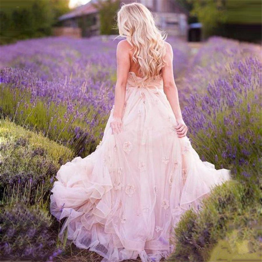 Country Western Mutterschaft Brautkleider mit Blumen A-Linie Herzausschnitt Bohemian Style Rustic Blush Pink Plus Size Brautkleid
