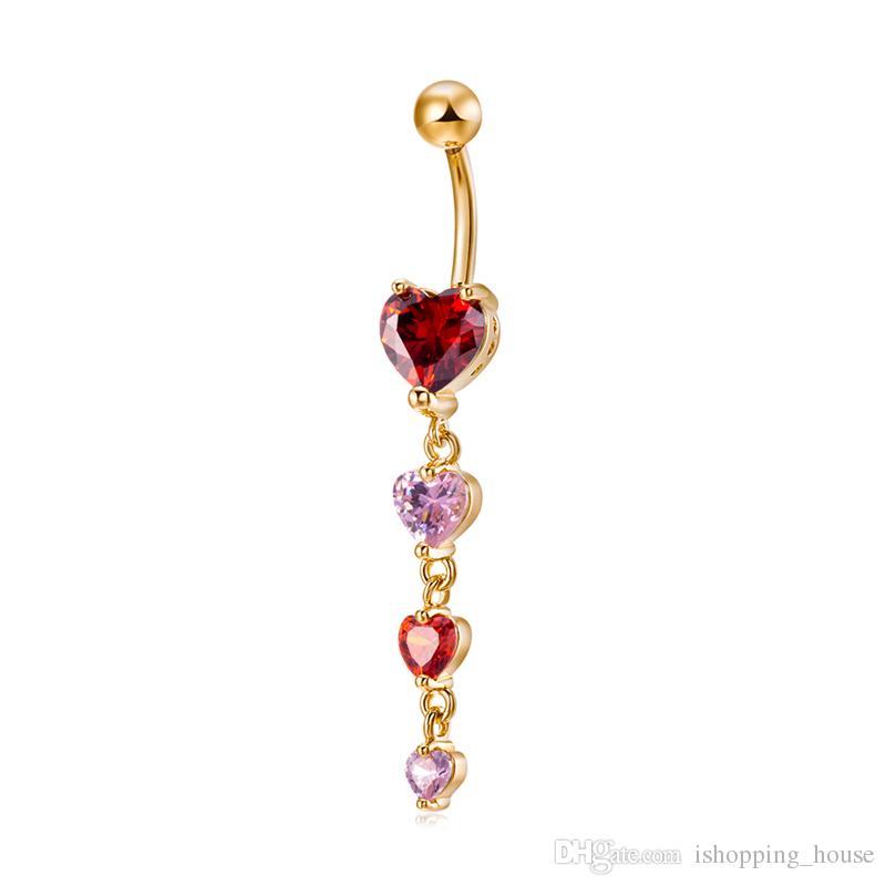 Donne Brand Body Jewelry Belly Bottone Anello 18K Giallo placcato oro cz 4 cuori Anello piercing all'ombelico ragazze sexy BR-223