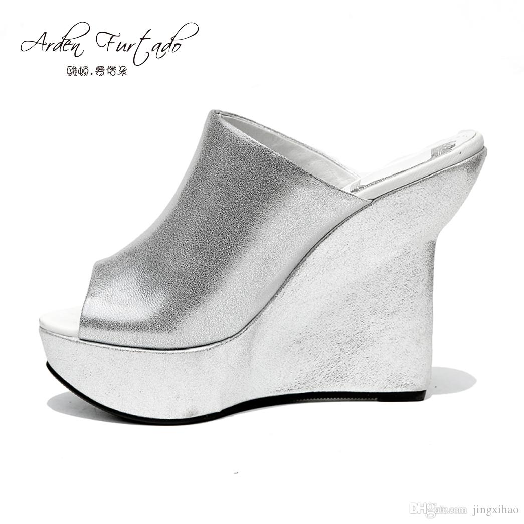 28d723d085b7 Girls New 2017 Summer Genuine Leather Extreme High Heels Peep Toe Slides Wedges  Silver Shoes For Woman Platform 16cm Footwear Women Slippers Fringe Boots  ...