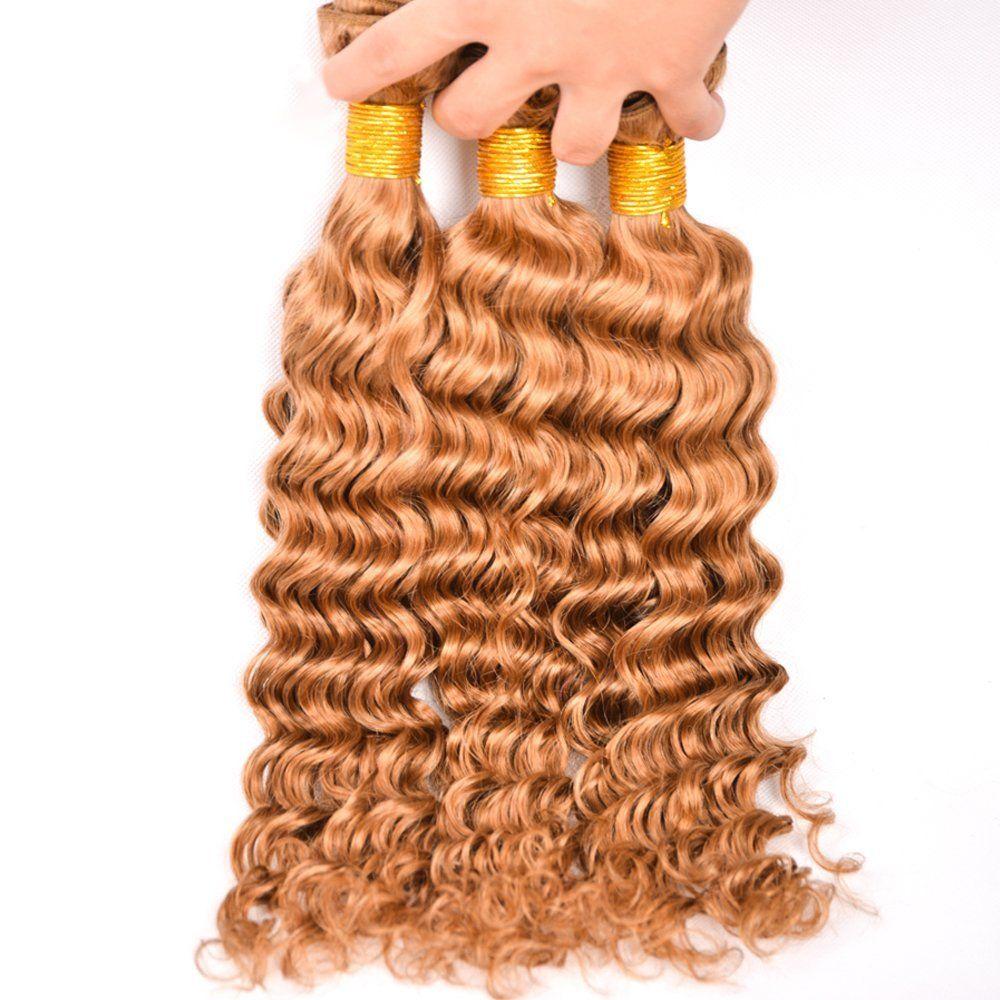 # 27 Honig Blonde Menschenhaar 3 Bundles Mit Spitze Frontals Malaysisches Reines Haar Weben Tiefe Welle Mit Spitze Frontal Verschluss 4 Stücke viel