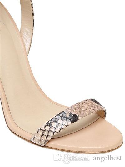 luxury design snakeskin pattern leather knee high sandals boots back zipper cut outs women open toe summer boots summer gladiator sandals