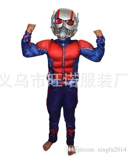 Child Deluxe Ant man Muscle Costume Boys Marvel New Superhero Cosplay Halloween Fancy Dress Outfit For Kids LED Masks