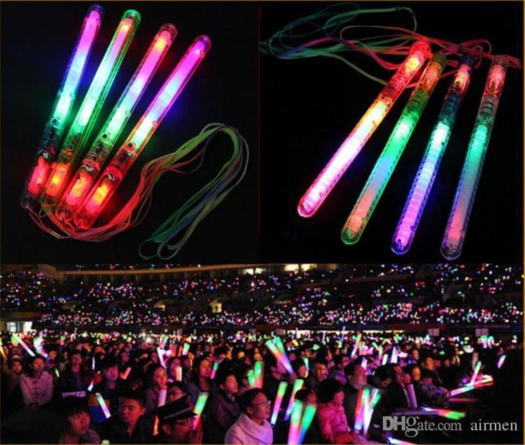New Multi Colorido 7 Modos de LED Piscando Luz Da Noite Da Lâmpada Glow Wand Varas + cinta de Aniversário Festa de Natal festival Acampamento NAVIO LIVRE