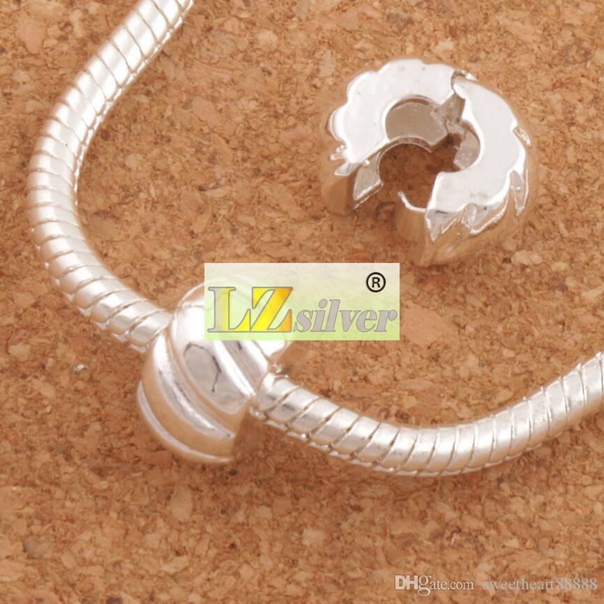 10 mm plateado tapón de calabaza de la gran agujero perlas clip 30 unids / lote encajan pulseras del encanto europeo de metales joyería diy l1749