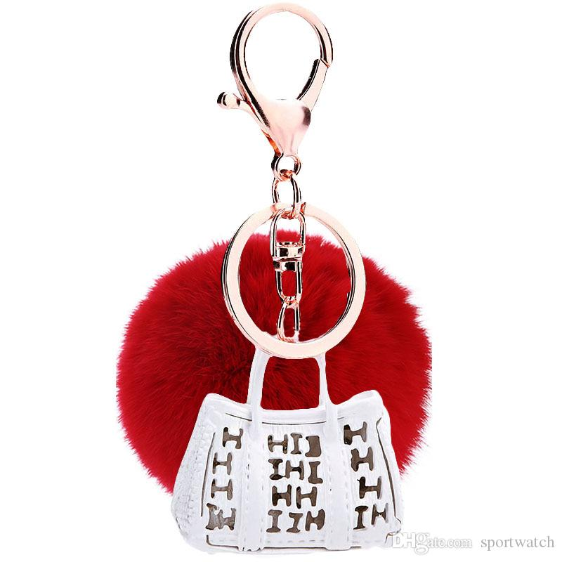 가방 7 색 토끼 모피 공 키 체인 무성한 키 체인 모피 폼은 폼은 Llaveros Portachiavi 포르테 음자리표 열쇠 고리 키 체인
