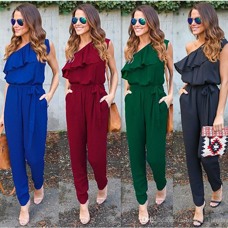 a690a1fbad2a Sexy Women Solid Falbala Jumpsuit Sleeveless Off Shoulder Backless ...