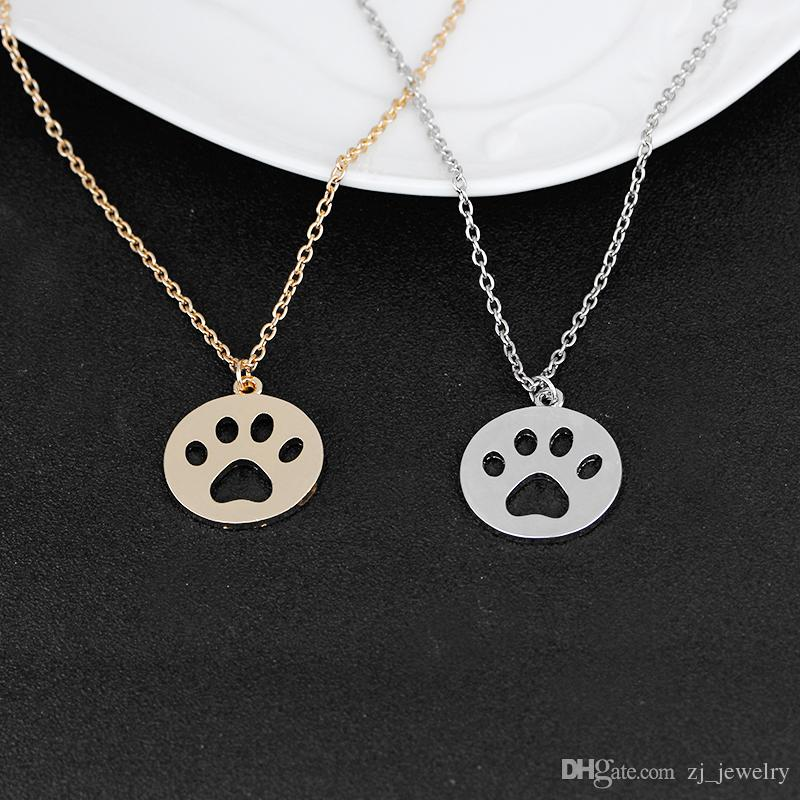 Hollow Cat Dog Paw Print Necklace Animal Gift Cute Claw Pendant Jewelry Lovely Pet Statement Necklace Women Girl Gift