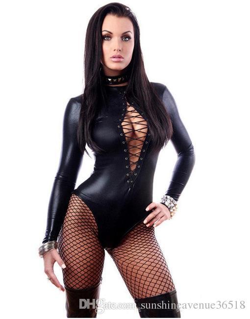 Mono Negro de cuero atractiva de las mujeres vestidos de manga larga Body erótico Leotardo látex catsuit de vestuario dongguan_wholesale en stock