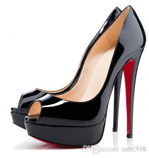 01ed863a2d8 Classic Brand Red Bottom High Heels 14cm Heels Platform Pumps Nude Black  Patent Leather Peep Toe Women Dress Sandals Shoes Size 35 42 Boat Shoes  Shoes For ...