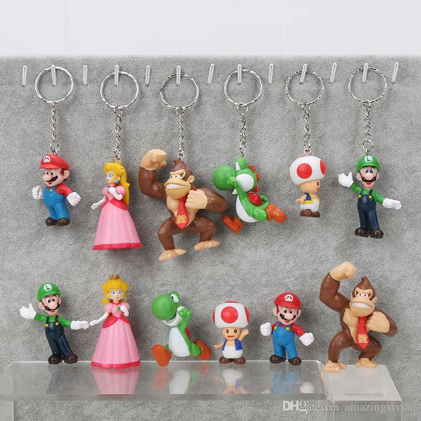 3afe8def447 2019 Super Mario Bros Mario Luigi Peach Yoshi King Kong Toad Action Figure  PVC Toys 4 6cm Kids Gifts From Amazingvivian