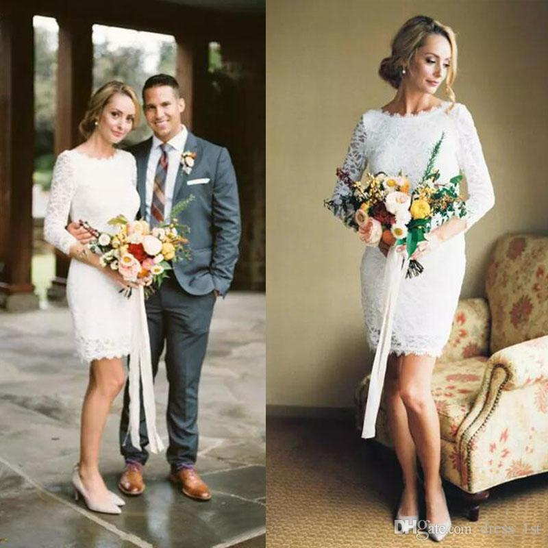cc9a5b54829 2017 Summer Beach Bohemian Full Lace Sheath Short Wedding Dresses Scoop  Neck Long Sleeves Sexy Bridal Gown Wedding Party Custom Made EN10302  Vintage ...