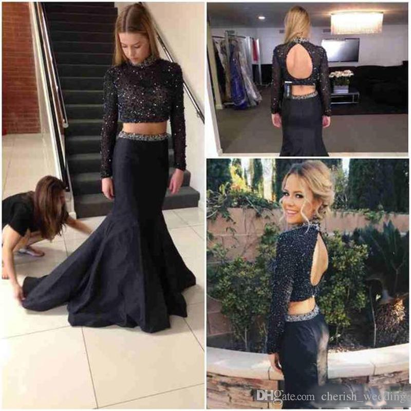 Two Pieces Evening Dresses 2017 Black Beaded Long Sleeves Mermaid Satin Floor Length Long Evening Gowns