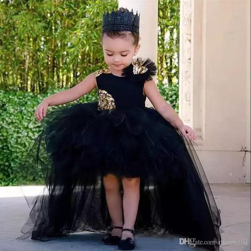 Little Black High Low Flower Girl Dresses For Weddings Jewel Neck Paillettes Baby Kids Abiti formali Abito da comunione economico