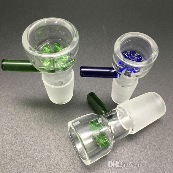 Herb Slide 14mm 18mm Glass Bowls Color snowflake filter bowl with Honeycomb Screen Round Tobacco Smoking Bowl for Glass bongs Dab Rig