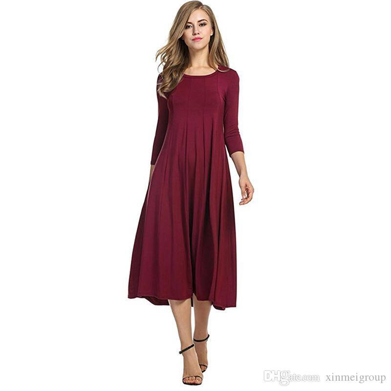 1bf1d9243a25 Women New Autumn Dress Fashion 3/4 Sleeves Solid Midi Vestido Elegant Party  Straight Mid Calf Length Casual Dress WX03529 Lace Summer Dresses Evening  Party ...