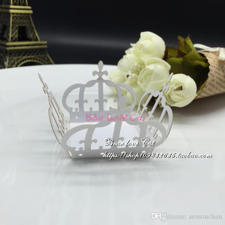 Laser cut Crown cupcake wrappers wedding decoration birthday party favors supplies chocolate candy box bar cake decor, baby shower