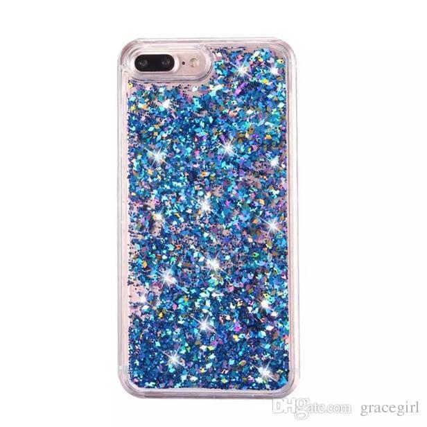Quicksand Liquid Diamond Funda de PC de plástico duro para Iphone X XS 8 7 I7 Iphone7 6 Plus 6S Bling Glitter Gold Foil Star Phone Skin Cover