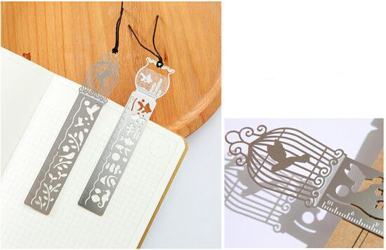 4 Type Metal DIY Bookmark Ruler Hollow Mini Cute Drawing Bookmarks Air Template