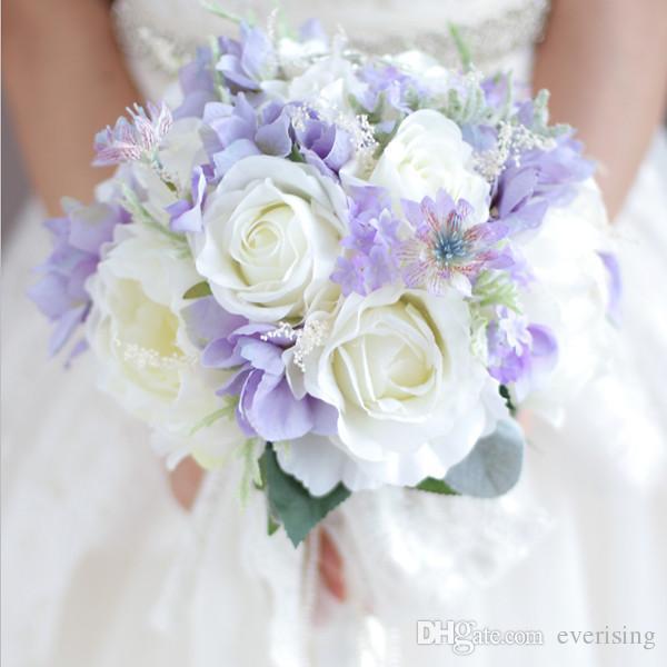 Rendas de seda pérolas buquê de noiva peônias rosas rústicas chic broche de casamento buquê branco nevoeiro roxo bouquet de noiva artificial