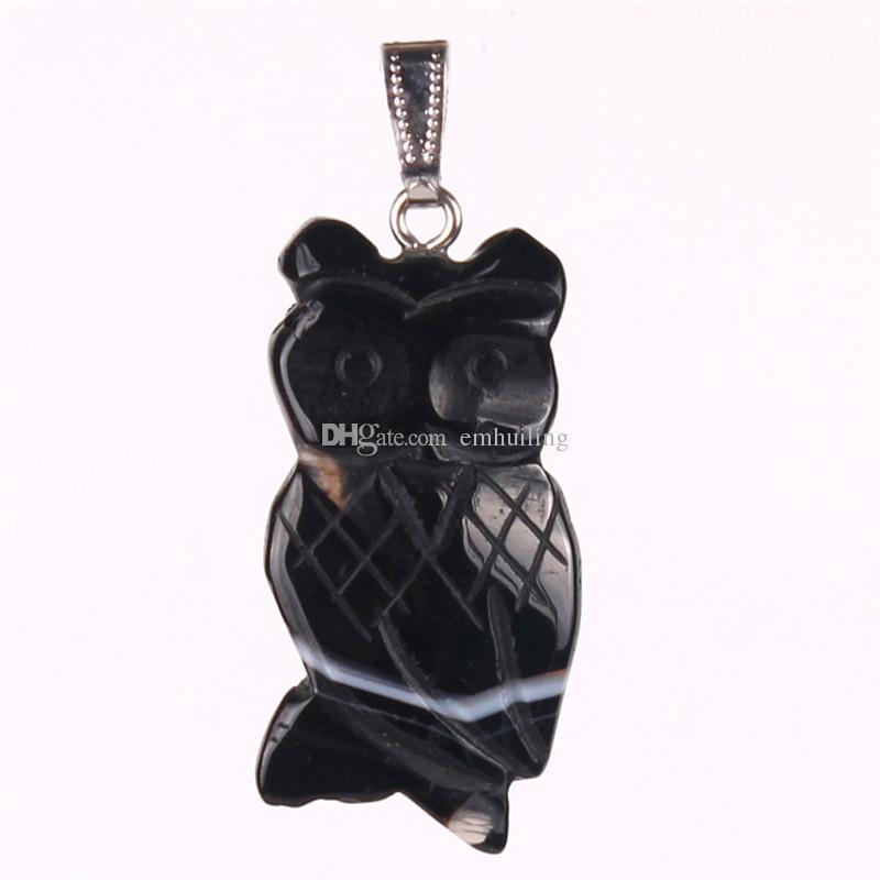 Unique Belle Bijoux mixte en pierre naturelle sculptée Noir Onyx Or Sable Pierre Oeil de Tigre Bleu Aventurine Opale chanceux pendentif chouette Charms Perles