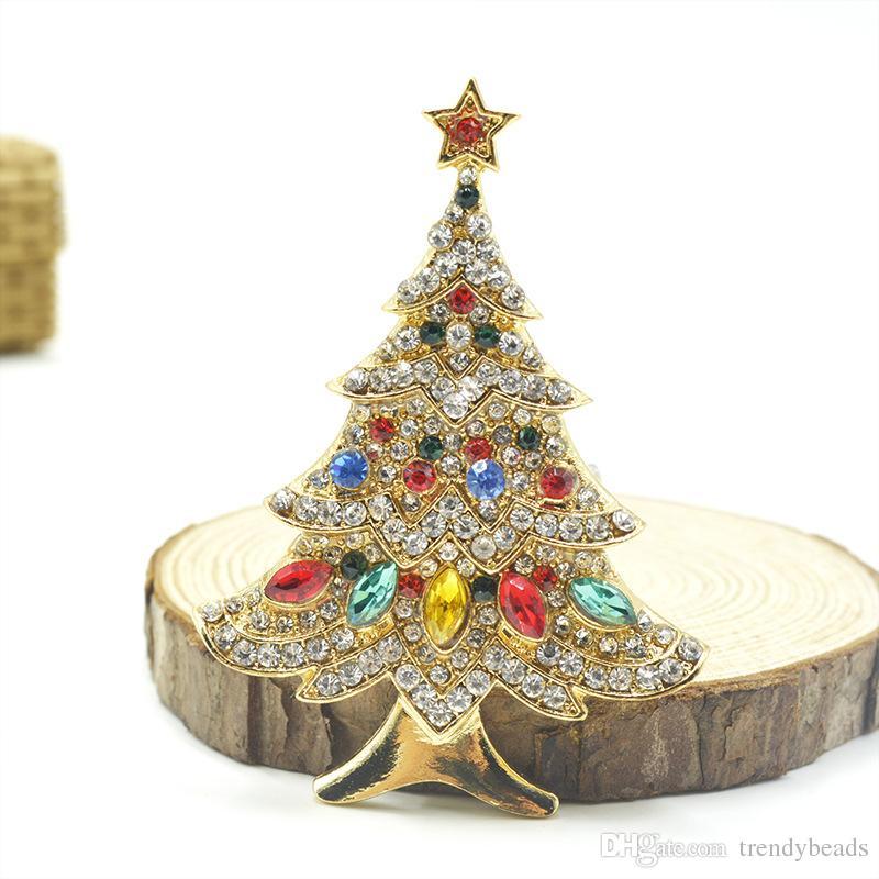 빈티지 크리스마스 트리 브로치 핀, 라인 석 크리스마스 브로치, 골드 크리스마스 트리 브로치, 1960 년대 휴일 보석, 엄마 할머니에게 선물