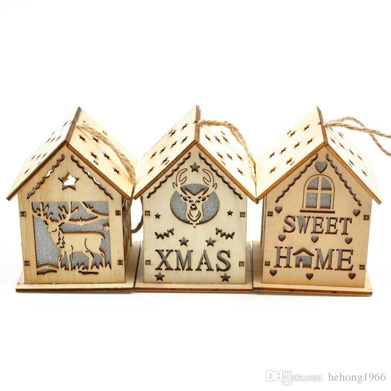 Wooden Carving Hanging Ornament LED Warm White Light House Pendant Elk Letter Pattern For Home Christmas Decoration 7zy B R
