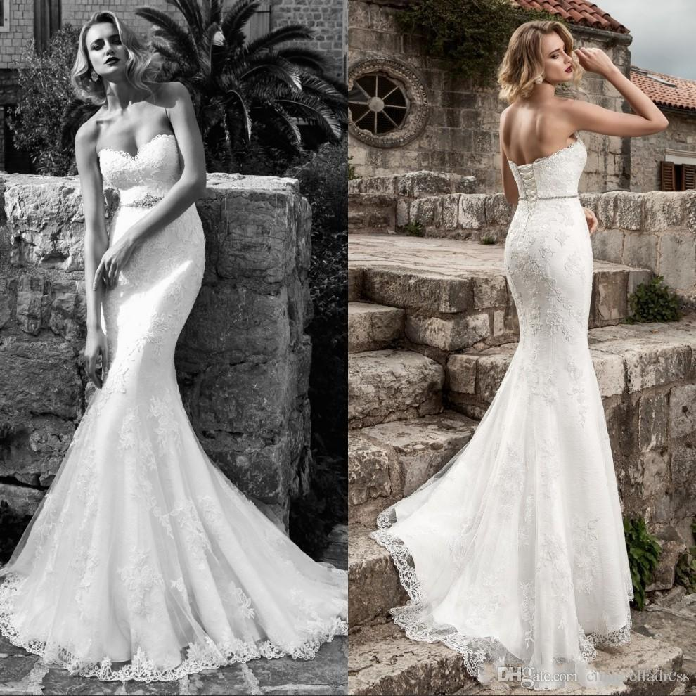 2018 Sexy Lace Mermaid Wedding Dresses Strapless Applique Beaded Crystal  Belt Sexy Corset Plus Size Bridal Gowns Modest Bride Dresses Ba7406  Designer Gown ...