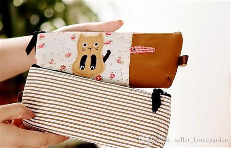 2015 New Cute Cartoon cat Pencil Pen bag/Case Cosmetic Makeup Bag with 17111609