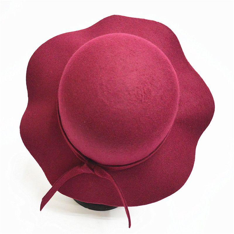 fbebc2974e0 Autumn Winter Hats for Children Girls Soft Vintage Wool Felt Bowler ...