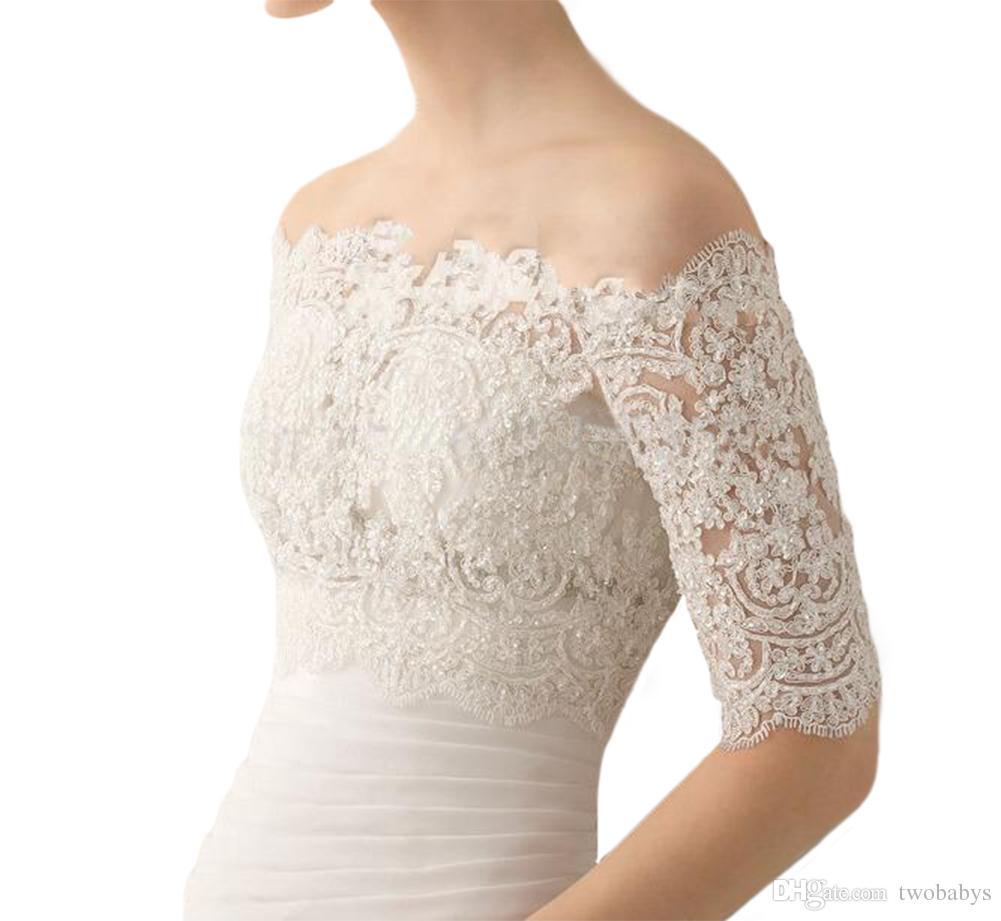 Sıcak Satış Kapalı Omuz Gelin Sarar Şal Düğün Bolero Ceket Custom Made Düğün Aksesuarları Düğün Dantel Shrug Ceket