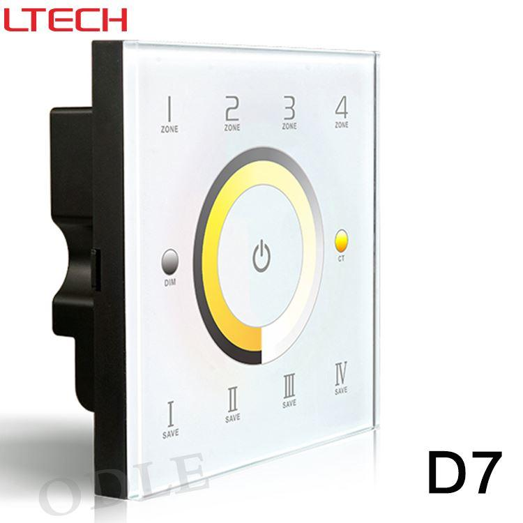 D7 DMX dimmer touch panel switch & CCT Color temperature adjustment ,4-zone DMX512 controller