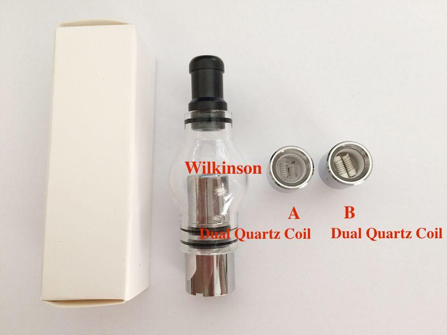 High Quality Glass Globe Wax Atomizer Vaporizer with Replacement Coil Dual Ceramic Dual Quartz Coil Glass Wax Dry Herb Atomizer
