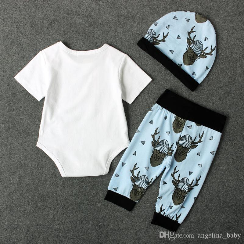 INS детские рождественские наборы одежды младенческой малышей о олень письма печати комбинезон + длинные брюки + шляпа 3 шт. костюмы Q1122