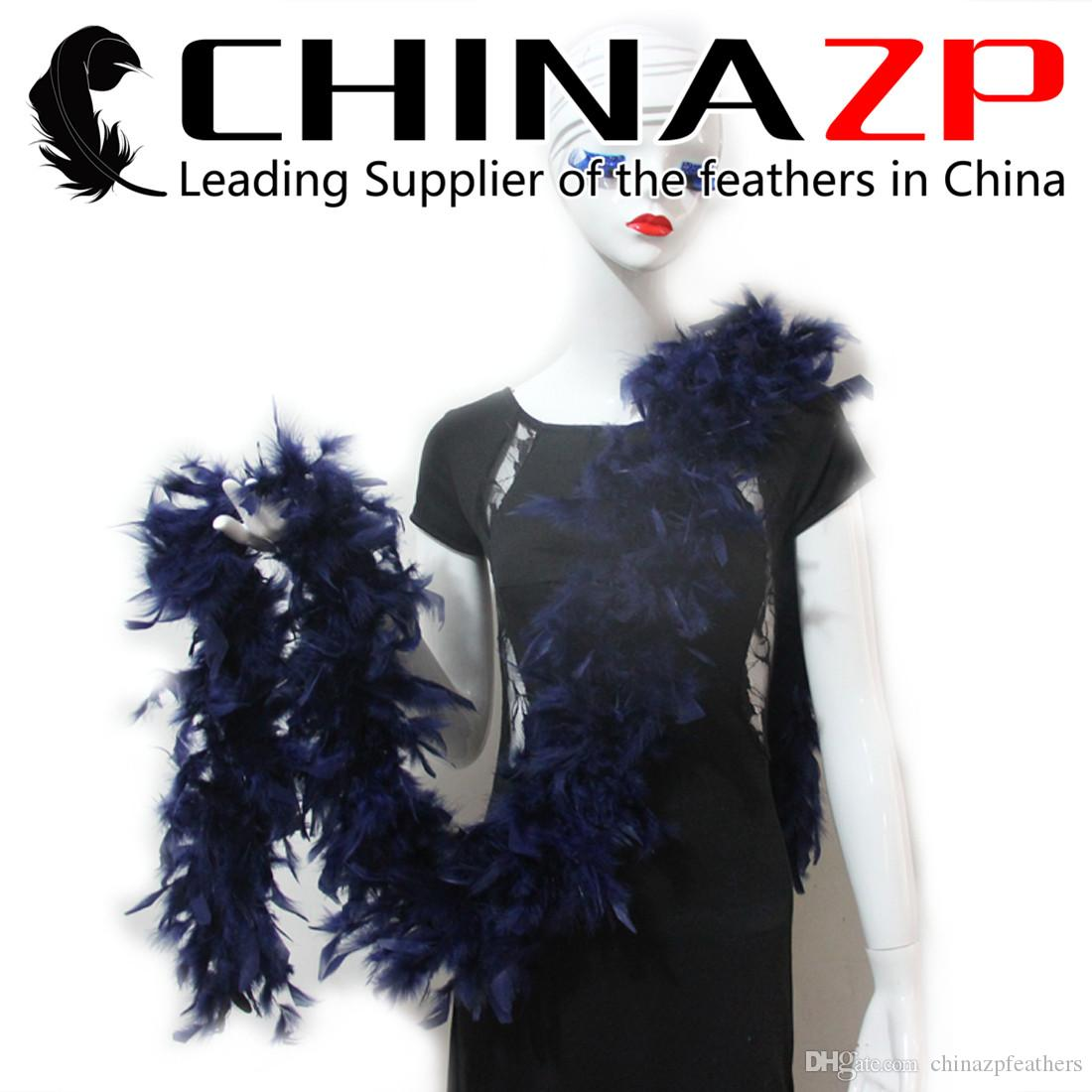 NO.1 Supplier CHINAZP Crafts 10yard/lot 80G Fluffy Dyed Dark Blue Turkey Chandelle Feather Boas and Scarfs