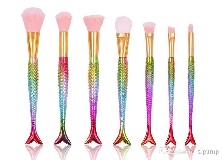 set Mermaid Makeup Brush fish Make Up Brushes Eyebrow Eyeliner Blending Contour Foundation Powder Colorful DHL Free