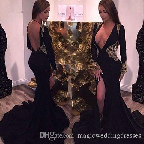 Sexy Front Split Black Arabic Prom Dresses With Gold Lace Plunging V Neck Long Sleeves Open Back Sweep Train Custom Evening Occasion Gowns