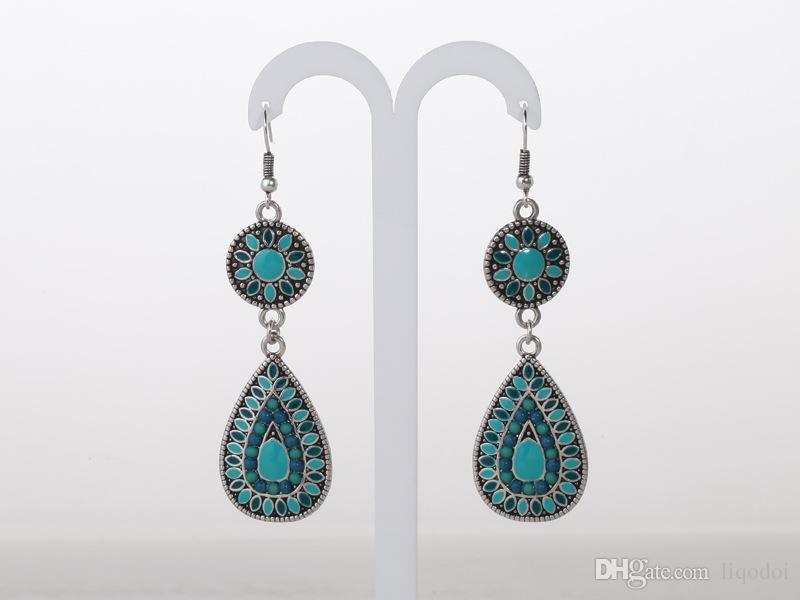 Pittura monili di immaginazione disegno di alta qualità di modo delle donne viola di olio blu Folk-custom retro orecchini le donne