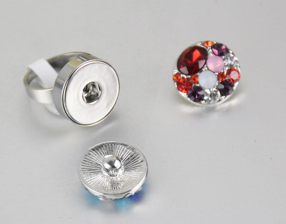 New Mix Size Ginger Snap Stainless Steel Ring Interchangeable 12MM-18mm Chunk Diy Snap Jewelry For Women Fit Snap Button Charm Size 7-10