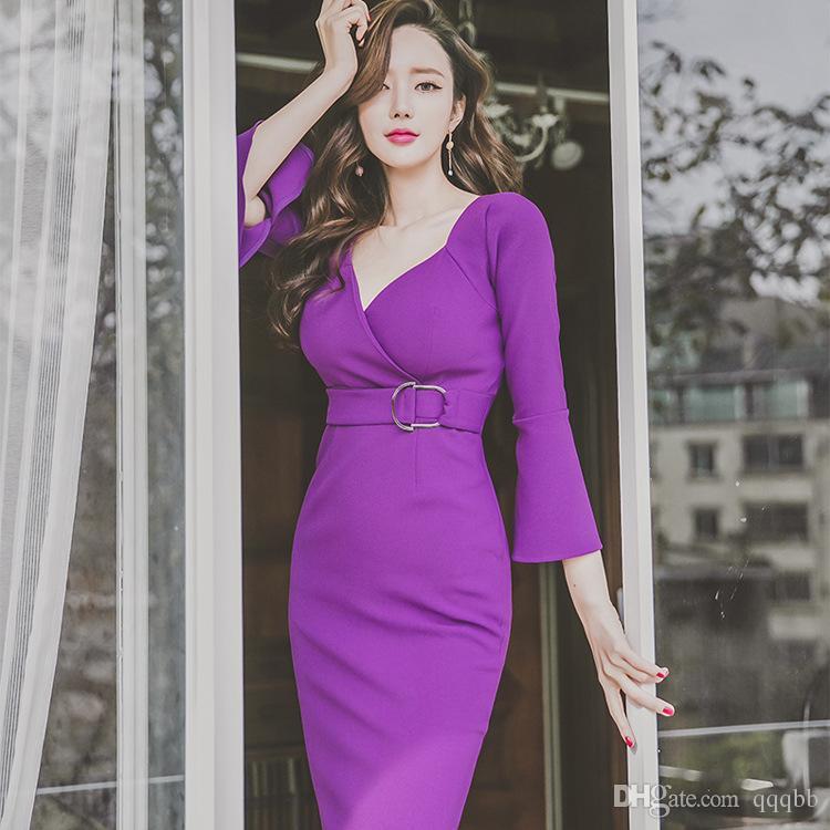 Compre Diseño De Moda Elegante Flare Sleeves Cintura Alta Purple ...