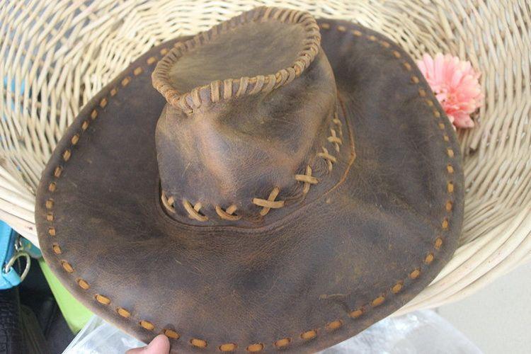 Arbeiten Sie lederne Westcowboyhut-Sonnehutfrauen die touristischen Kappen der Männer für Leistungshut der Reise im Freien um