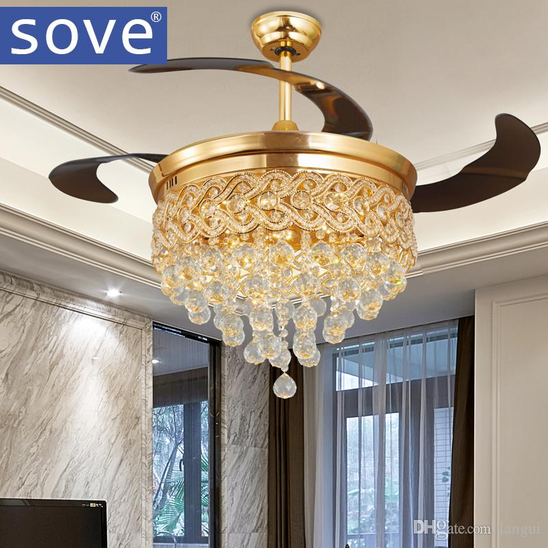 luxury ceiling fans. 2018 Sove Modern Luxury Folding Ceiling Fan Crystal Led Lamp Retractable Fans With Lights Remote Control Bedroom 220 Volt From Langui, 2