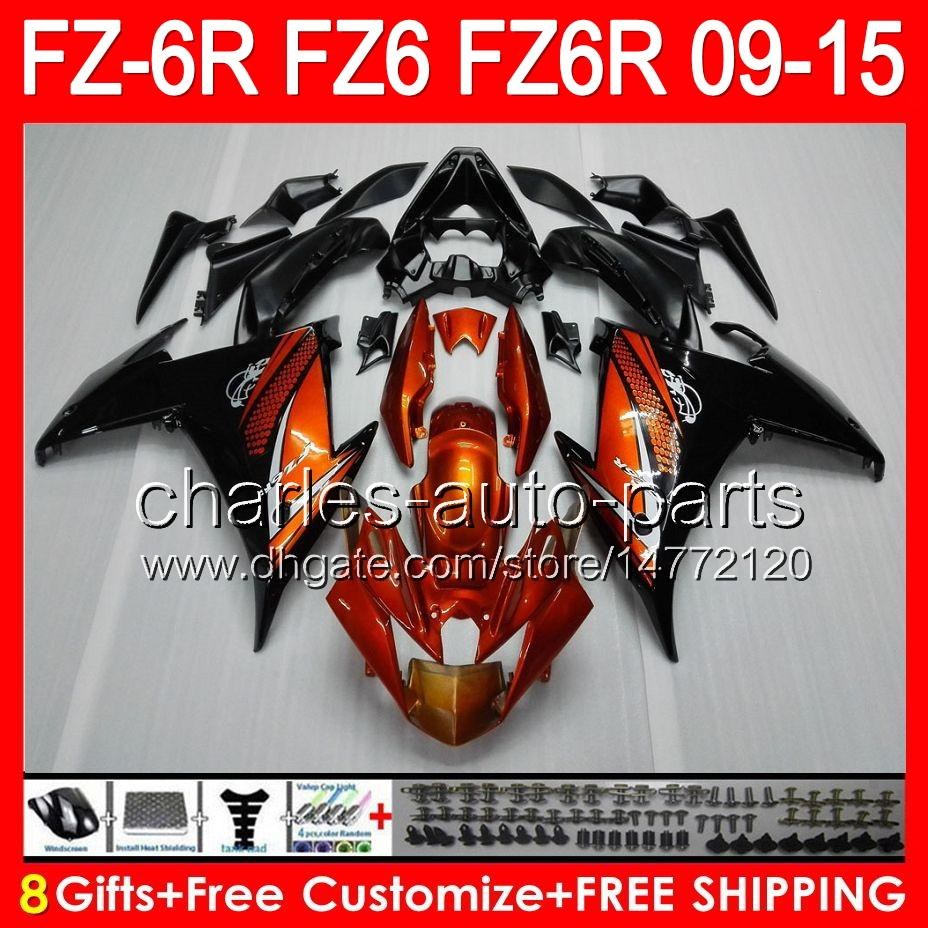 8gifts For YAMAHA FZ6R 09 10 11 12 13 14 15 FZ6N FZ6 gloss orange 89NO8 FZ-6R FZ 6R 2009 2010 2011 2012 2013 2014 2015 orange black Fairing