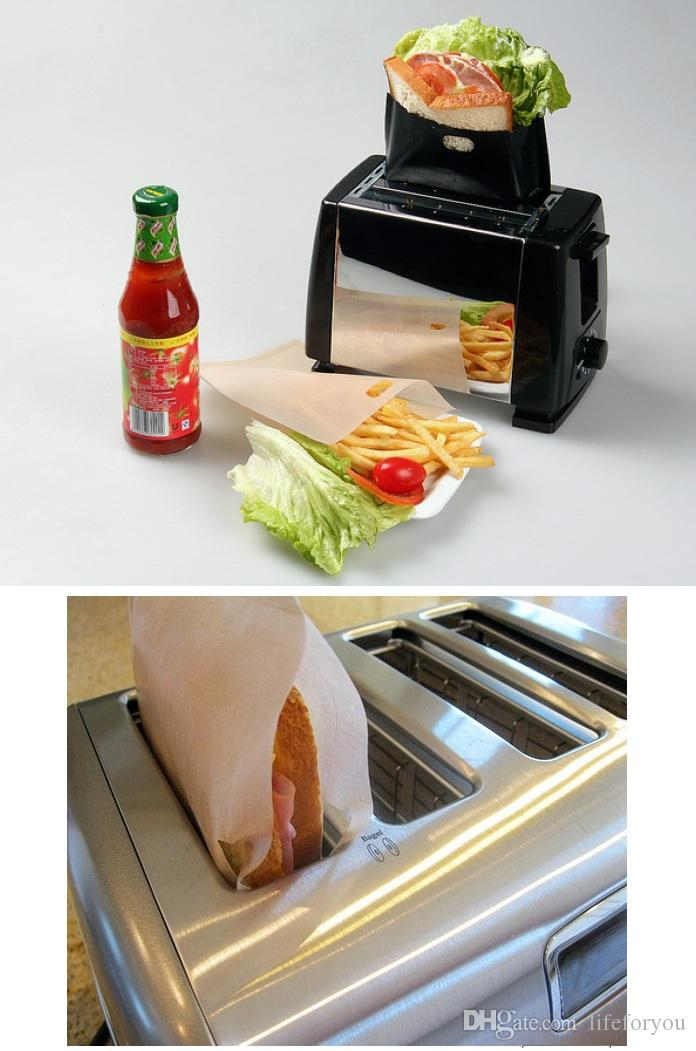 PTFE 샌드위치 토스터 가방 안전한 음식 등급 재사용 할 수있는 비 지팡이 베이킹 부페 바베큐 전자 레인지 부대 BBQ 부대 6.7